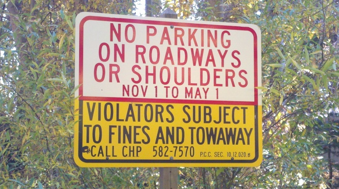 Local parking restrictions - West Shore, North Shore, greater Tahoe City, Lake Tahoe, CA areas