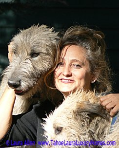 Laura with Irish Wolfhound puppies Rose and Scooter