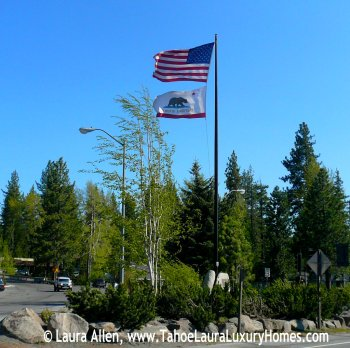 "Flags at the ""Y"" in Tahoe City, CA"