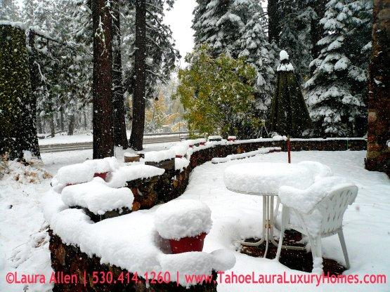 It's Snowing in Tahoe City!